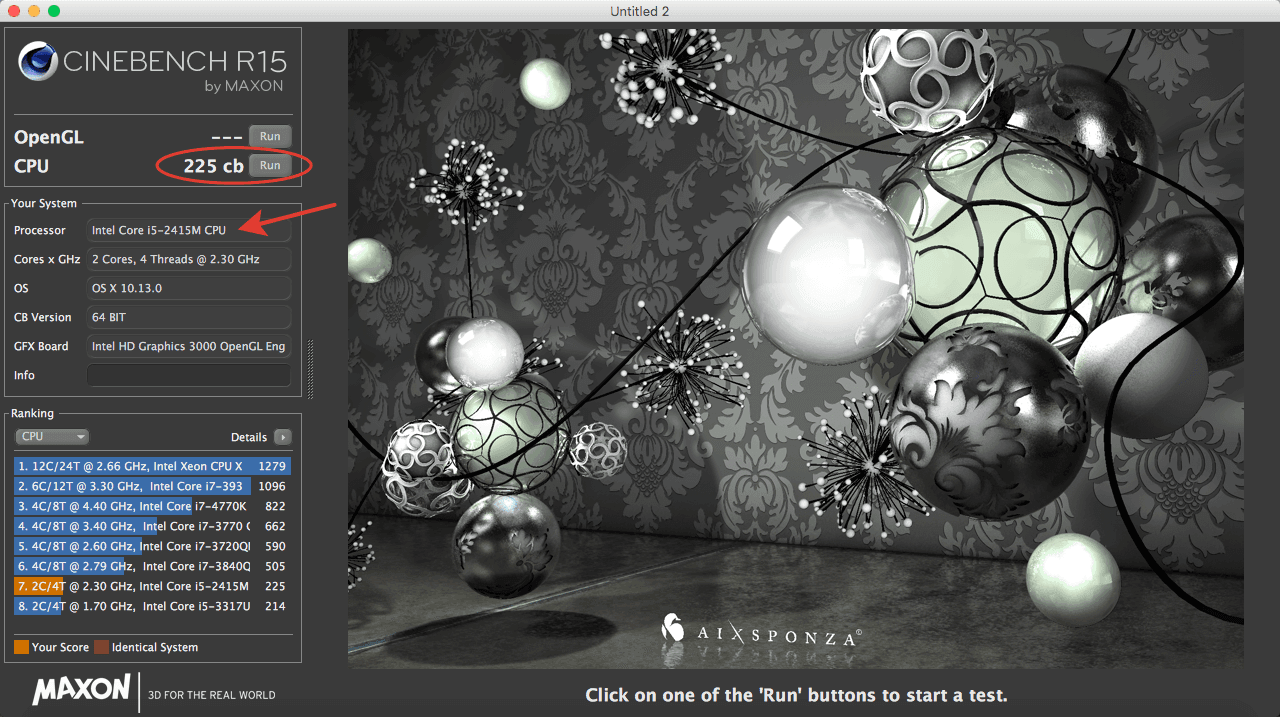 Cinebench MacBook Pro 2011