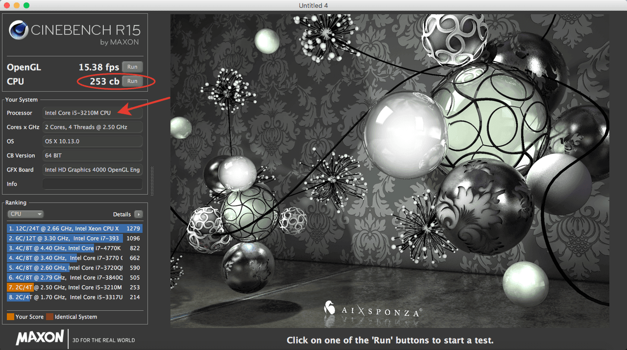 Cinebench MacBook Pro 2012