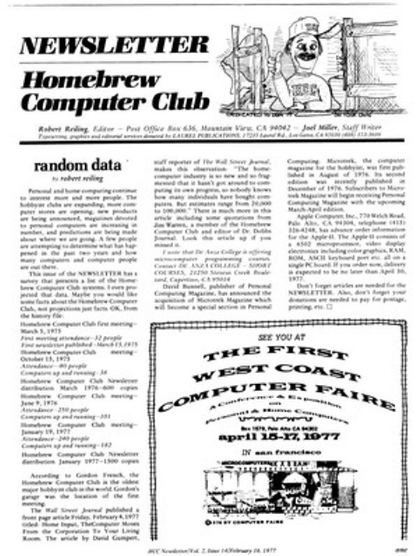 Состоялось первое собрание Homebrew Computer Club