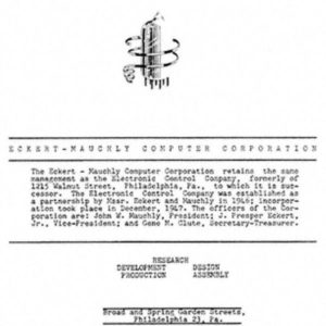 Зарегистрирована Eckert-Mauchly Computer Corporation