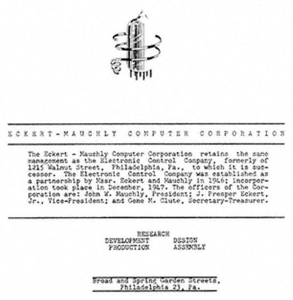 Зарегистрирована Eckert-Mauchly Computer Corporation