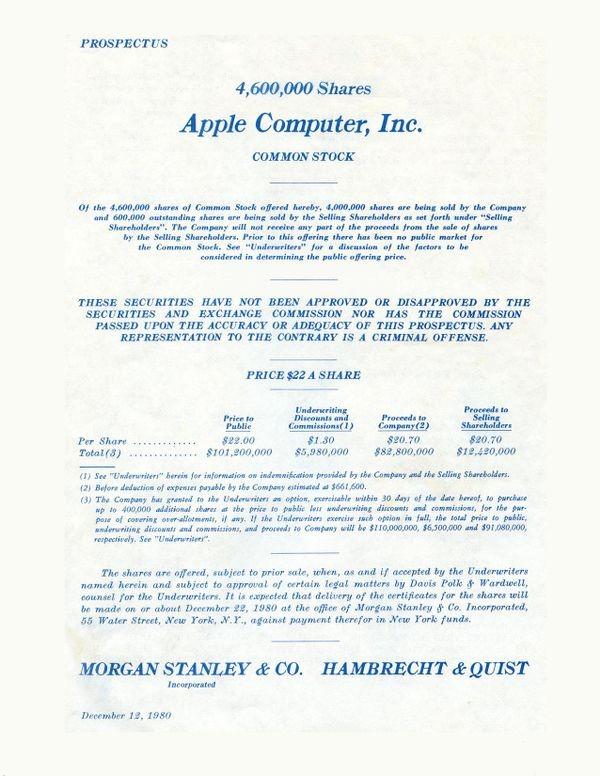 Первичное публичное размещение акций Apple Computer