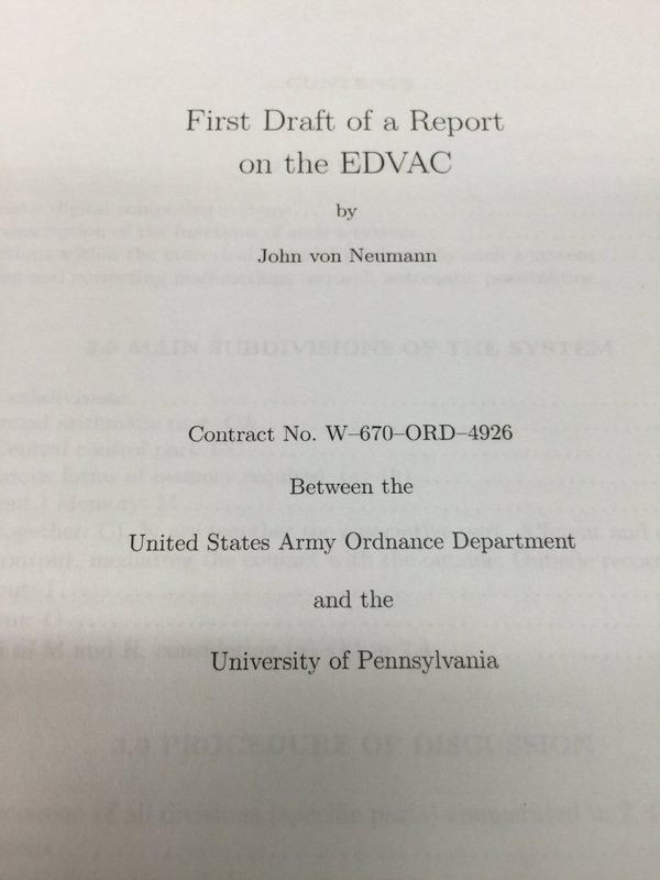 Опубликован «Первый проект отчета по EDVAC»