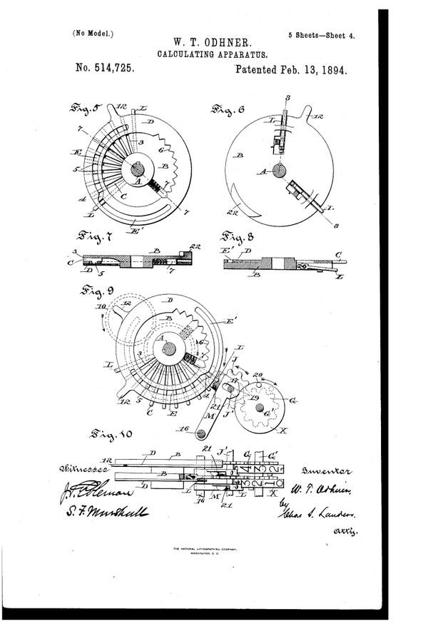 Вильгодт Теофил Однер получил патент на вычислительную машину